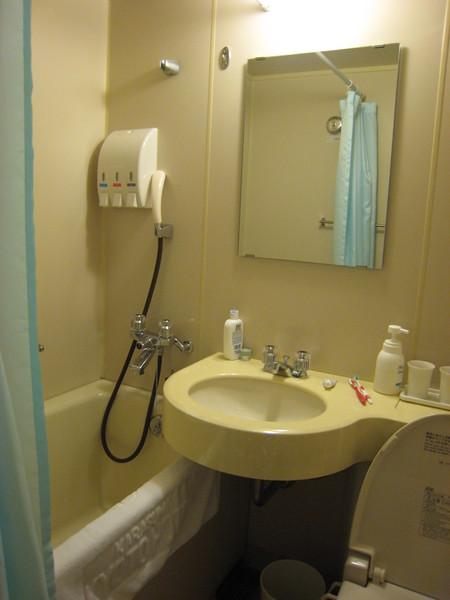 一體成型的旅館洗手間