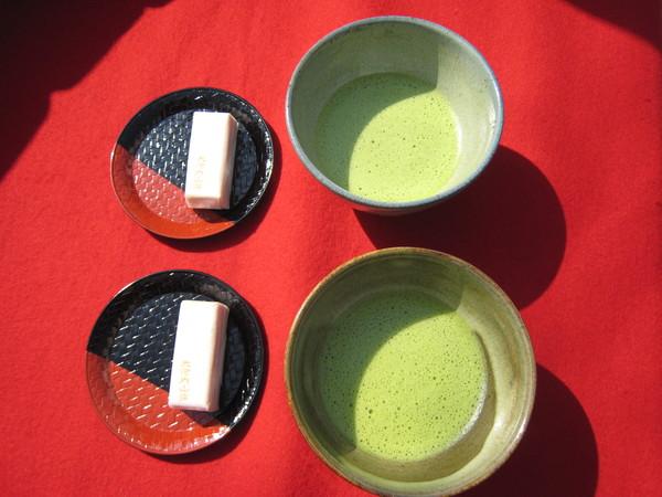 大河內山莊附贈的抹茶和菓子