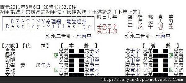 20110806股巿波動預測_六爻神卦
