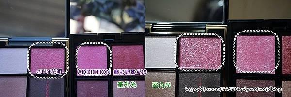 SUQQU晶采立體眼彩盤 114花明(右上色與ADDICTION 99色-比較照.jpg