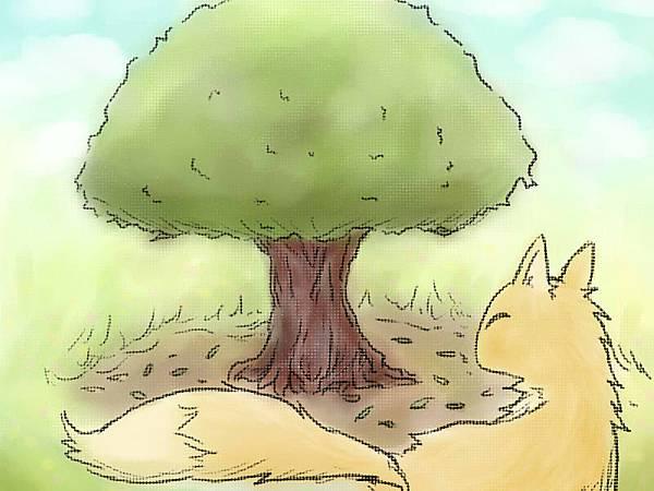 替乾妹畫的「狐狸與樹」