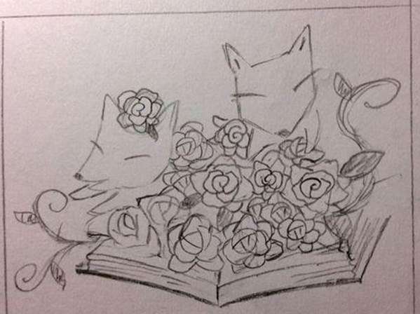 狐狸與玫瑰藏書章設計圖
