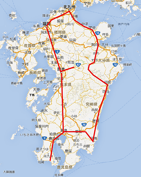 2014_Kyushu_Drive_Route.png