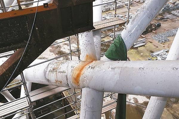 大巨蛋移樹防災工程 - 鏽蝕處