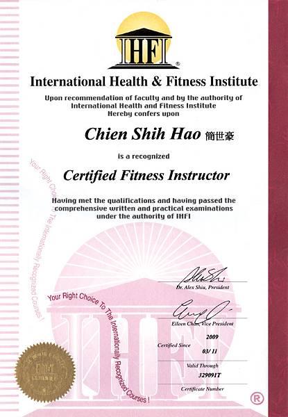 2009-0311-IHFI體適能教練證書