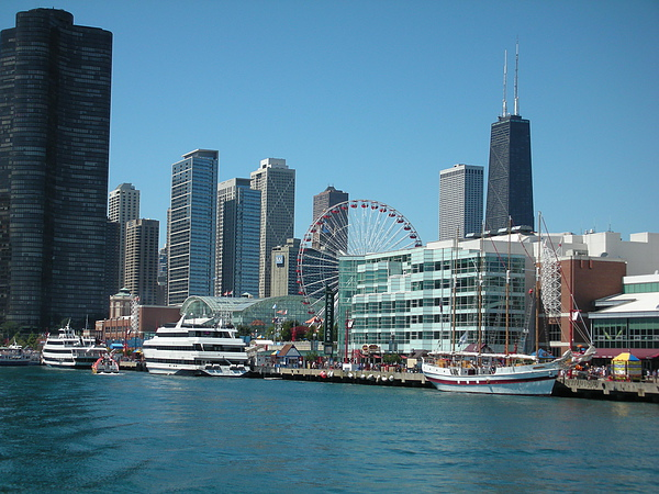 Chicago Skyline in Navy Pier