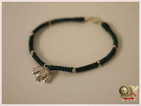 蠶絲蠟線手鍊-小象1