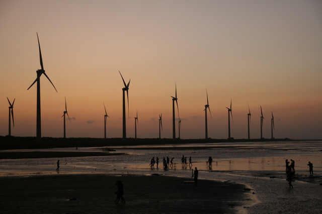 Windmills at Kao Mei wetland
