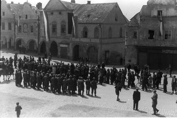 Historical square in Telč - year 1945