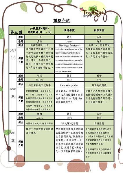 三月份學團課程介紹(三)