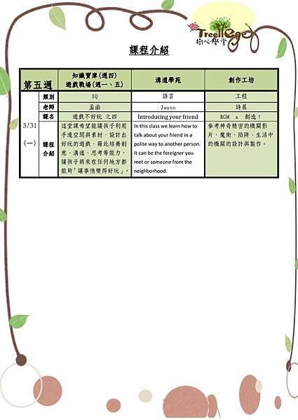 三月份學團課程介紹(五)