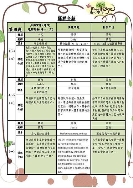 四月份學團課程介紹(二)