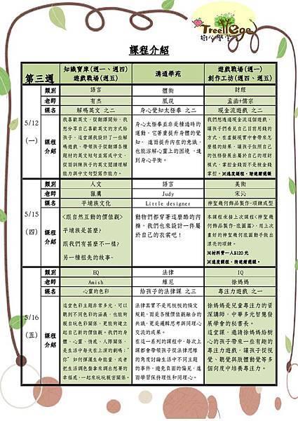 五月份學團課程介紹(三)