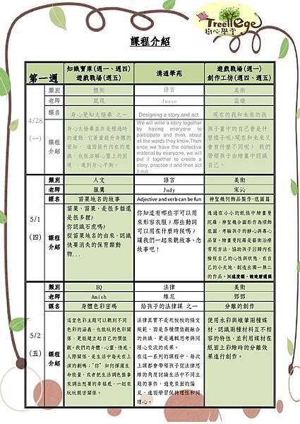 五月份學團課程介紹(一)