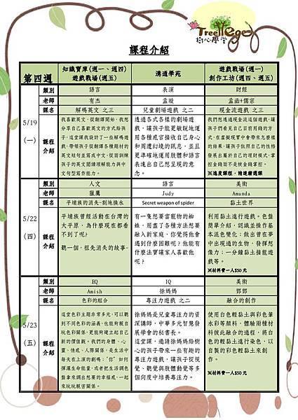 五月份學團課程介紹(四)