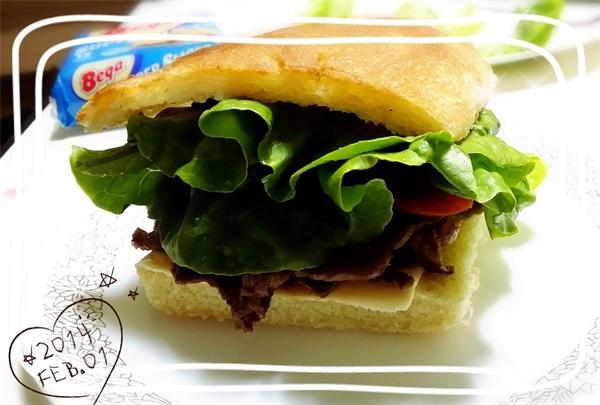 Focaccia beef sandwich