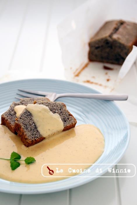 芝麻磅蛋糕佐安格列斯醬