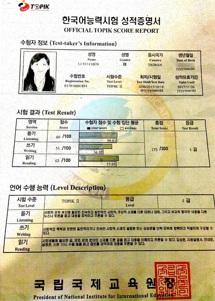 李彥蓉 韓檢4級證書