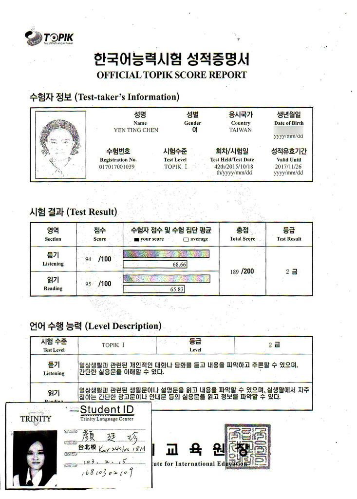 顏廷珍 韓檢2級證書