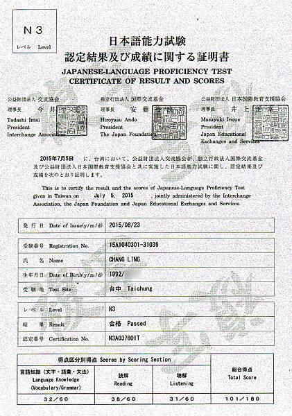 張淩  日文 N3 成績單.jpg