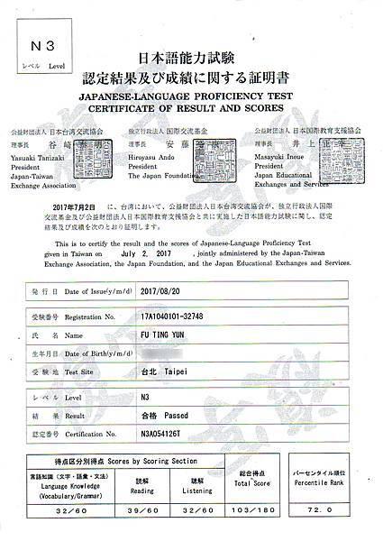 扶停雲 日檢 N3 證書.jpg