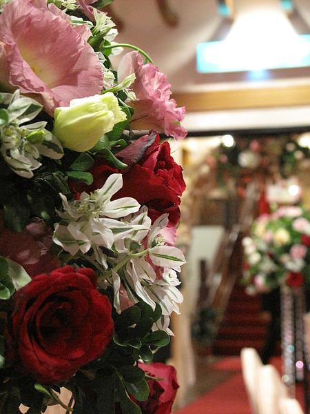宴會廳裡的花束