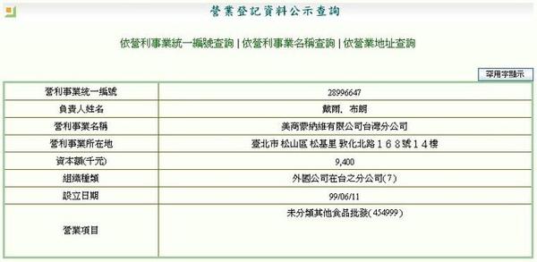 台灣分公司營業登記