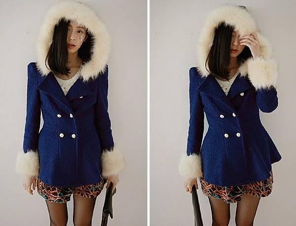圍毛雙排釦傘襬短大衣