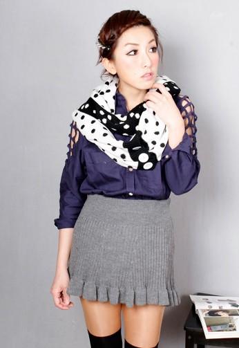 下擺波浪米妮針織直紋裙1