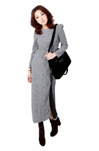 混砂針織公主袖側邊開岔長版洋裝