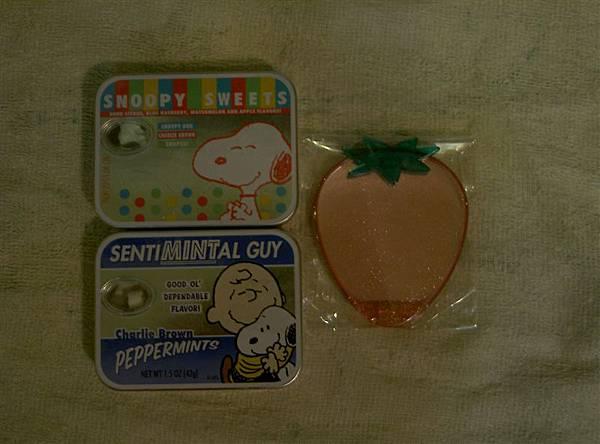 史努比喉糖+草莓小鏡子