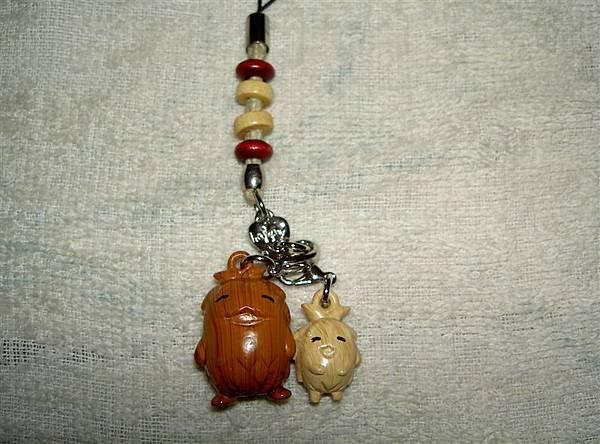 木頭的森林爺爺跟森林小子的手機吊飾
