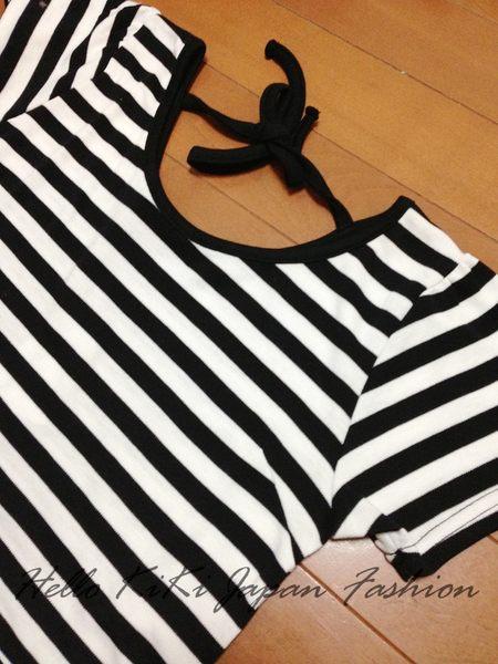 A-日JM34-顯瘦拼接條紋設計背後綁帶洋裝002