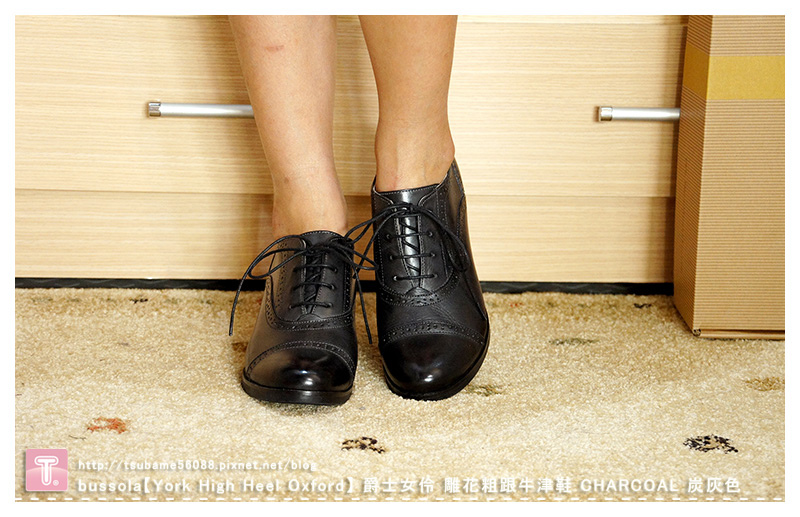 bussola【York High Heel Oxford】 爵士女伶 雕花粗跟牛津鞋_CHARCOAL 炭灰色