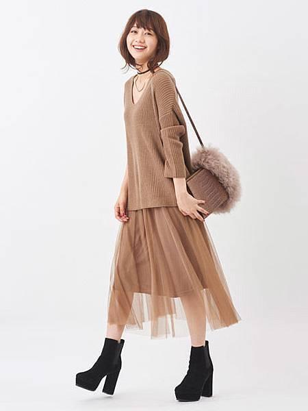 V領針織長上衣+薄紗連身裙SET