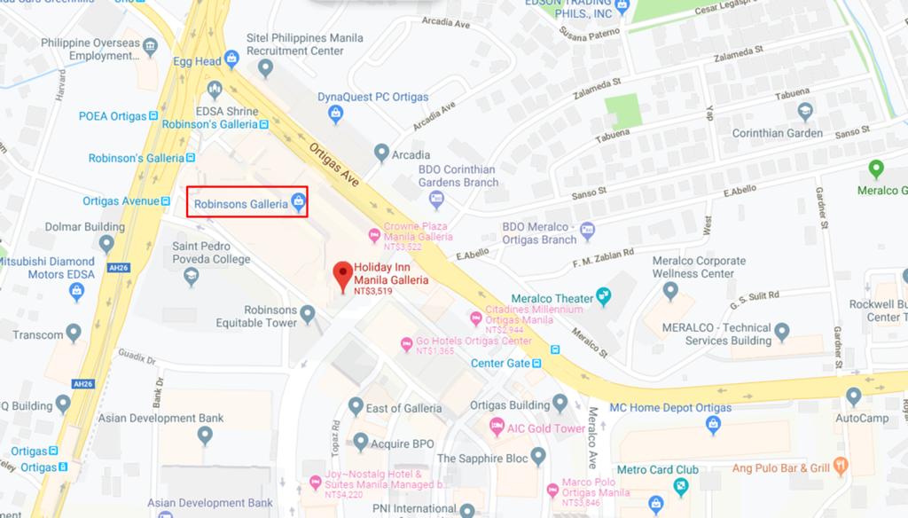 馬尼拉 廣場假日酒店 Holiday Inn Manila Galleria; 馬尼拉自由行; 馬尼拉飯店推薦; 馬尼拉住宿