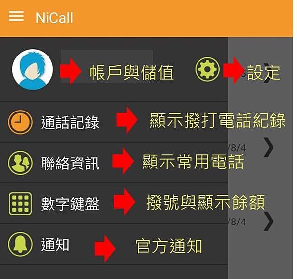 Nicall app介面