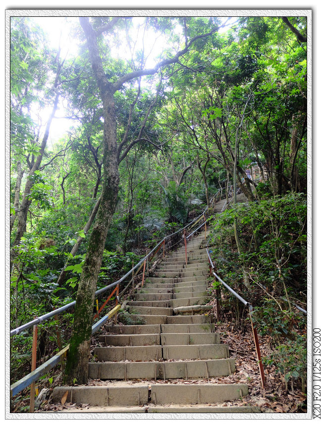 過涼亭後就是一段上坡階梯,大約120階吧