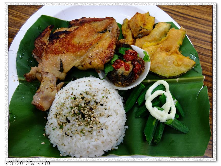 特色午餐-刺蔥雞腿,炸南瓜,炸皮蛋,秋葵,紅藜飯