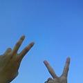 天氣很好,我在學校拍的,藍天很藍,藍的像佈景