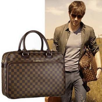 LV男生包包 旅行包 電腦包 黑格 啡格 老花三色可選 所需顏色 請在訂單中備注即可