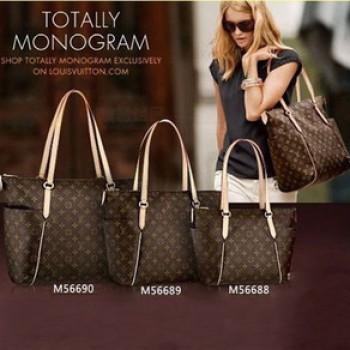 「LV」經典的Totally 時尚購物袋手提包 M56688-小 M56689-中 M56690-大