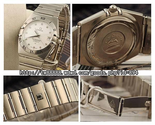 歐米茄星座系列藍寶石高檔锆鑽日曆男士手腕錶  售價:台幣$5800元 .jpg