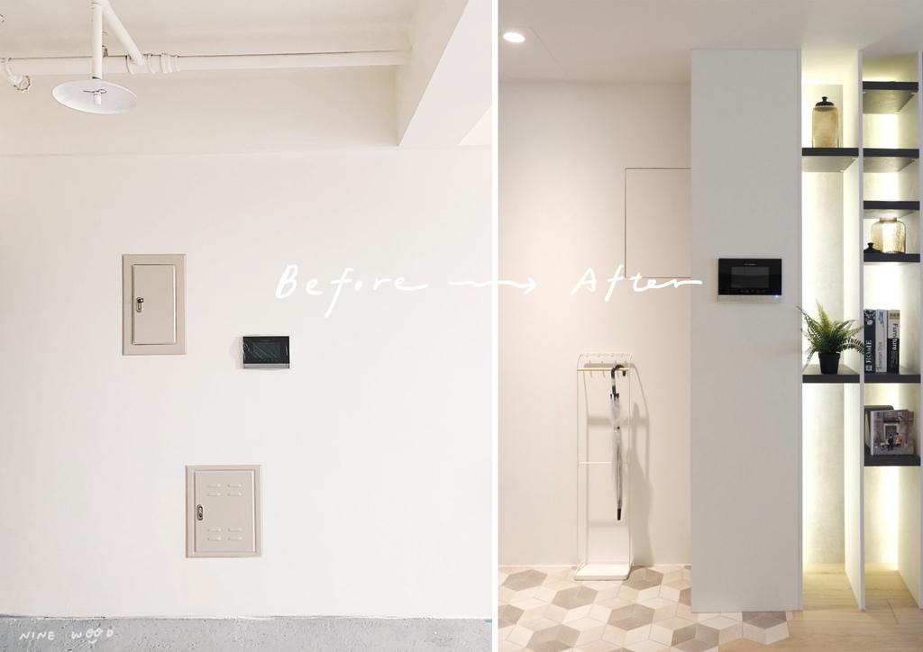 玄關櫃設計  玄關櫃 櫃體設計 系統櫃設計 系統櫃 設計前後比對 變電箱設計 隱藏設計