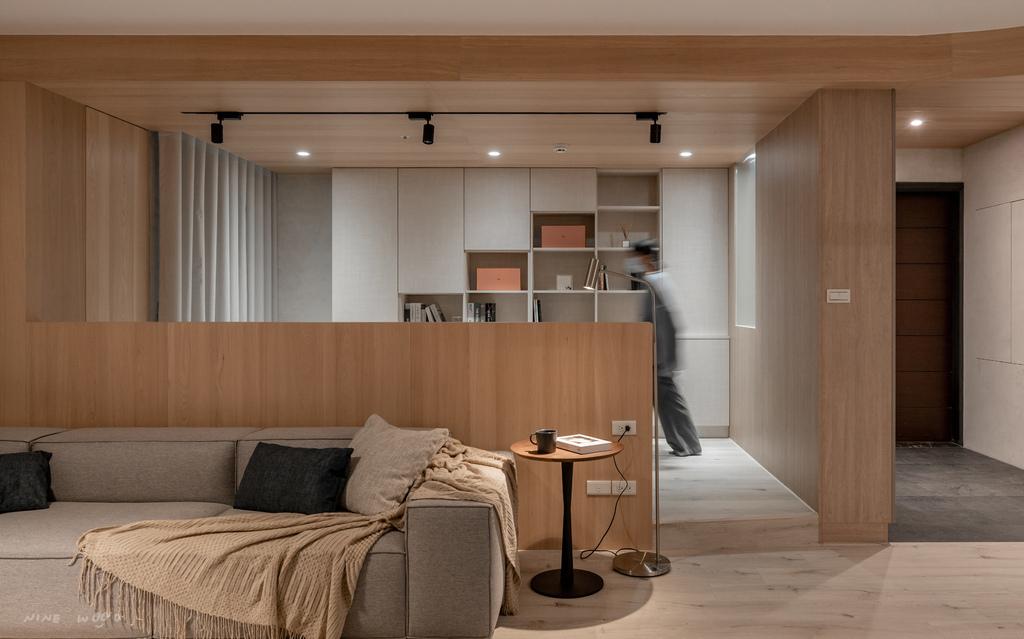 半牆設計 半牆隔間 半牆高度 實木貼皮