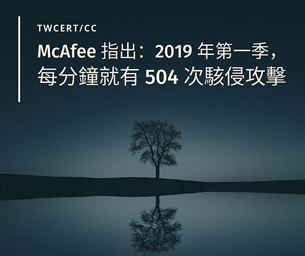 0830 TWCERT_CC McAfee 指出:2019 年第一季,每分鐘就有 504 次駭侵攻擊.png