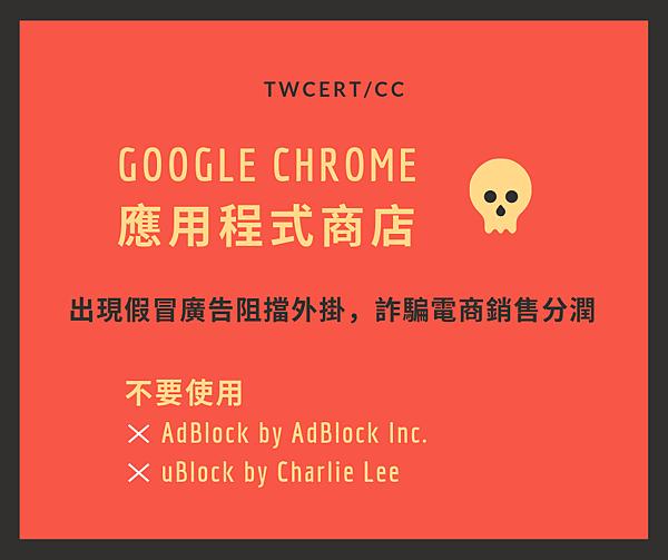 0920 TWCERT_CC Google Chrome 應用程式商店中出現假冒廣告阻擋外掛,用以詐騙電商銷售分潤.png