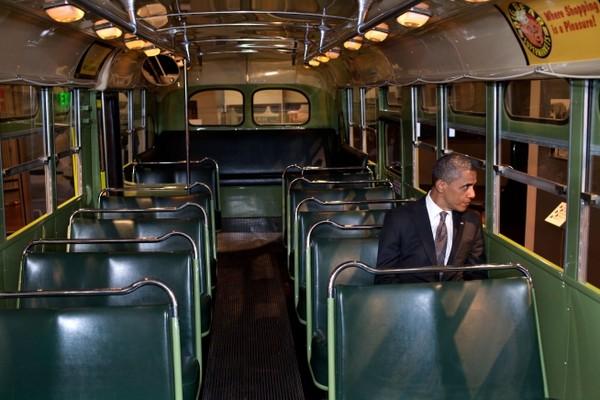 Obama on bus
