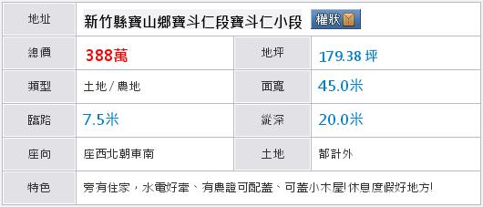 寶山寶斗仁農地 - 台灣房屋