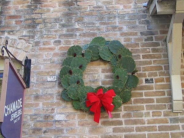 用仙人掌做的聖誕花環